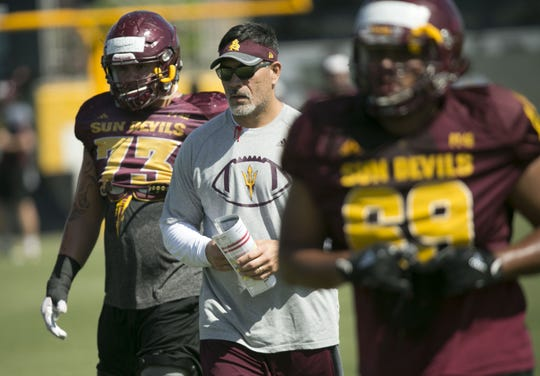 ASU offensive analyst Kevin Mawae works with the offensive line during ASU football Spring practice at the Kajikawa football practice field in Tempe on Thursday, April 5, 2018.