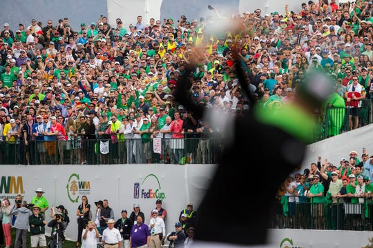 Fans watch as Justin Thomas tees off on the 16th hole during the third round of the 2019 Waste Management Phoenix Open on Saturday, Feb. 2, 2019, at TPC Scottsdale.
