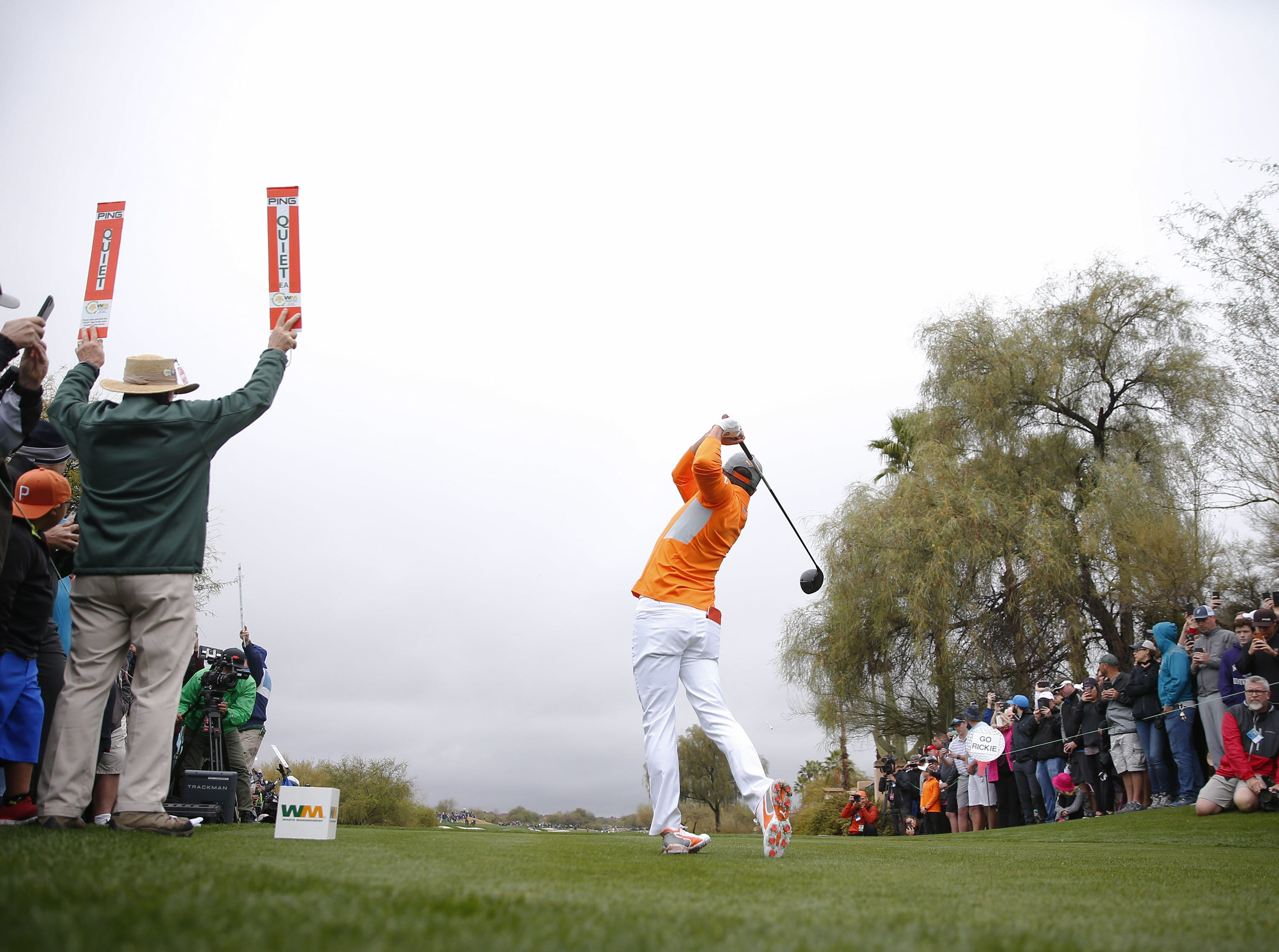 Rickie Fowler hits his tee shot on the third hole during the final round of the Waste Management Phoenix Open at the TPC Scottsdale Feb. 3, 2019.