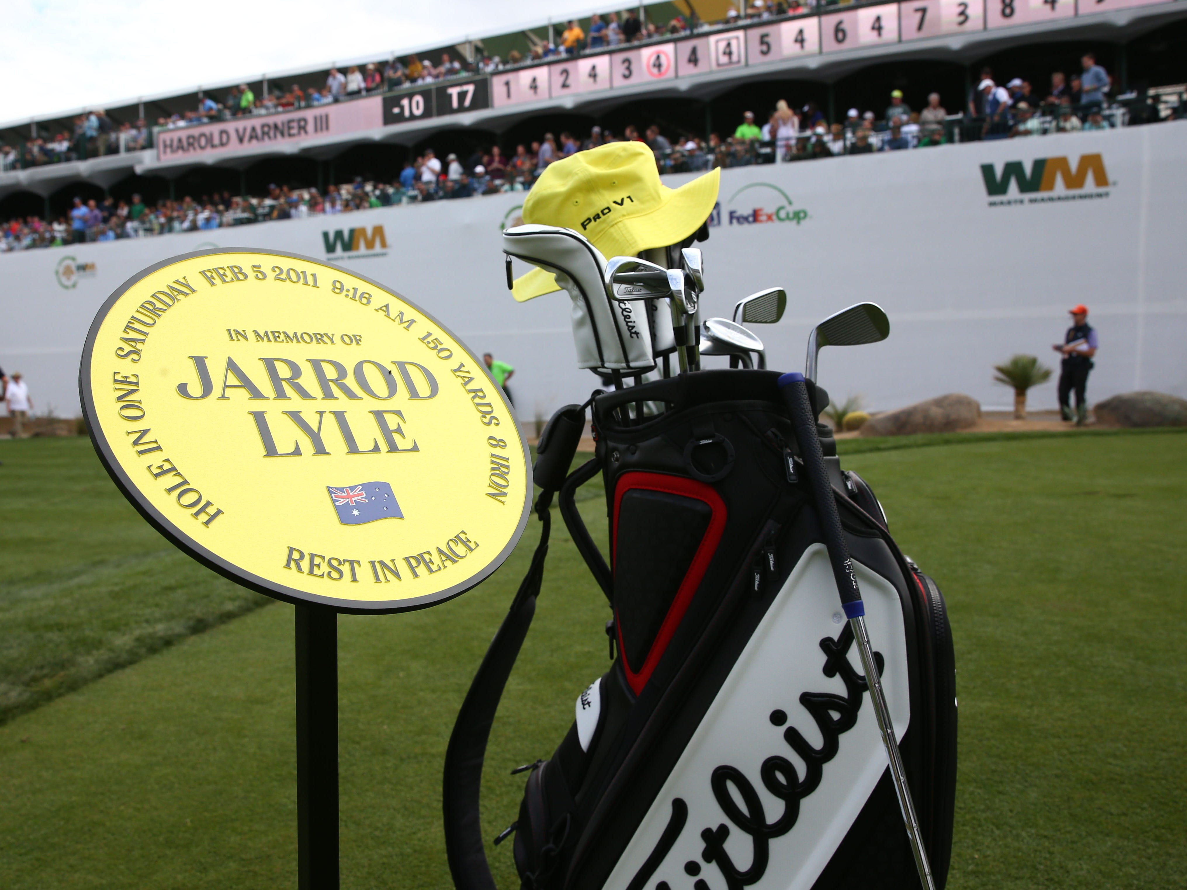 A yellow hat and golf bag on the 16th tee box honors the late Jarrod Lyle, who died last summer from leukemiaduring third round action on Feb. 2 during the Waste Management Phoenix Open at the TPC Scottsdale Stadium Course.