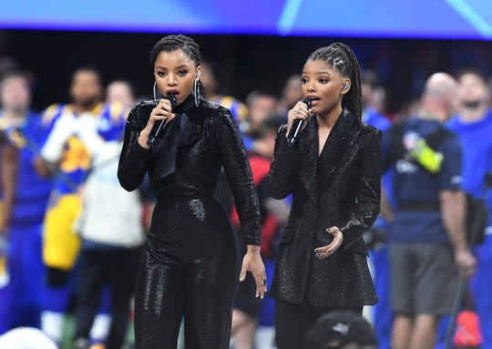 ATLANTA, GA - FEBRUARY 03:  Halle Bailey (L) and Chloe Bailey of Chloe X Halle perform during the Super Bowl LIII Pregame at Mercedes-Benz Stadium on February 3, 2019 in Atlanta, Georgia.  (Photo by Kevin Winter/Getty Images)