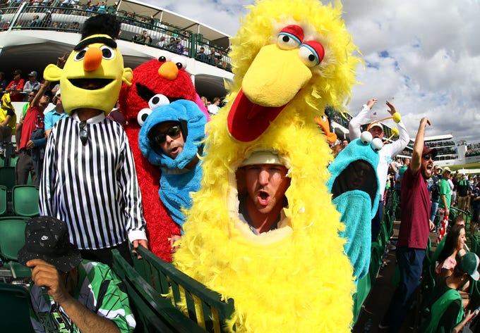 Jesse Hale from Canada was Big Bird on the 16th hole while his friends were dressed as other Sesame Street characters during third round of the 2019 Waste Management Phoenix Open at TPC Scottsdale.