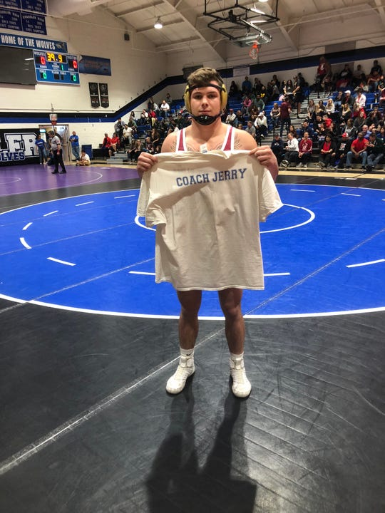 Feb. 2, 2019; Gilbert Perry wrestler Travis Calloway dedicated his sectional title win in the 195-pound weight class to Jerry Johnson, father of coach Darren Johnson.