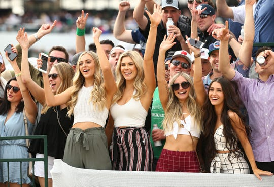 Spectators cheer on the 16th hole during third round action on Feb. 2 during the Waste Management Phoenix Open at the TPC Scottsdale Stadium Course.