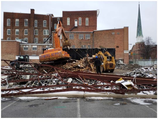 A heap of metal, wood and other materials remained after the demolition of the Lighten Up Chambersburg building in December.