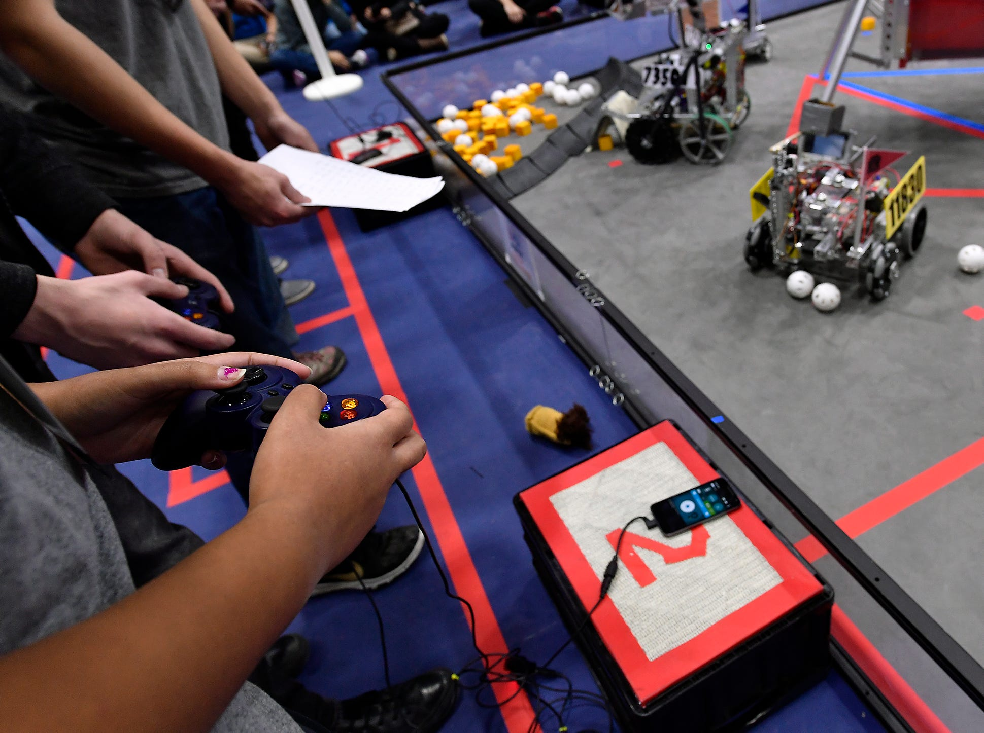 Competitors, including local teams from Red Lion and York, take part in the two-day Rover Ruckus robotics tournament at Penn State York, Sunday, February 3, 2019. John A. Pavoncello photo