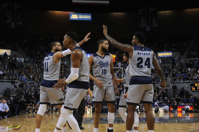 Five of Nevada's 1,000-point scorers are shown earlier this season against Boise State. They are, from left, Cody Martin (11), Tre'Shawn Thurman, Caleb Martin (10), Jazz Johnson and Jordan Caroline.