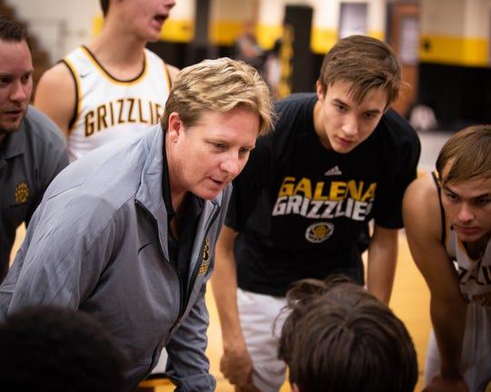 Galena coach Karen Friel talks to the team during a recent game