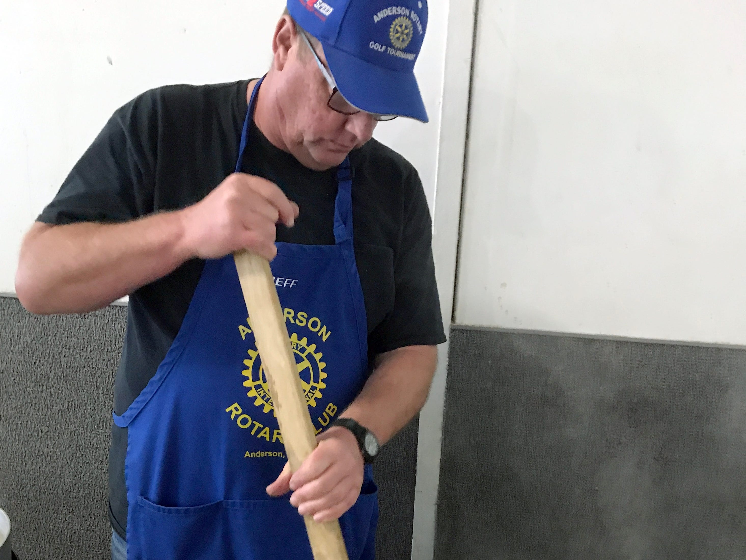Give credit to Jeff Hall and fellow Anderson Rotary Club members for taking the hours needed to prepare Saturday's clam chowder for One SAFE Place's annual crab feed at the Shasta District Fair grounds in Anderson.