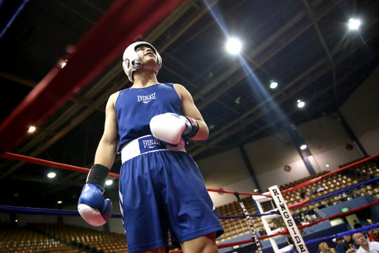Omar Murillo of Salem pumps up before his fight at the Oregon Golden Gloves championship matches at the Salem Armory on Saturday, Feb. 2, 2019.