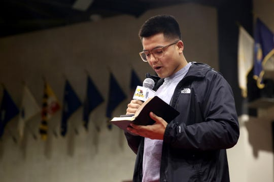 Salem boxer Omar Murillo says a prayer before the Oregon Golden Gloves championship matches at the Salem Armory on Saturday, Feb. 2, 2019.