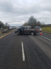 A Monmouth man died when his truck ran into the median on Highway 22