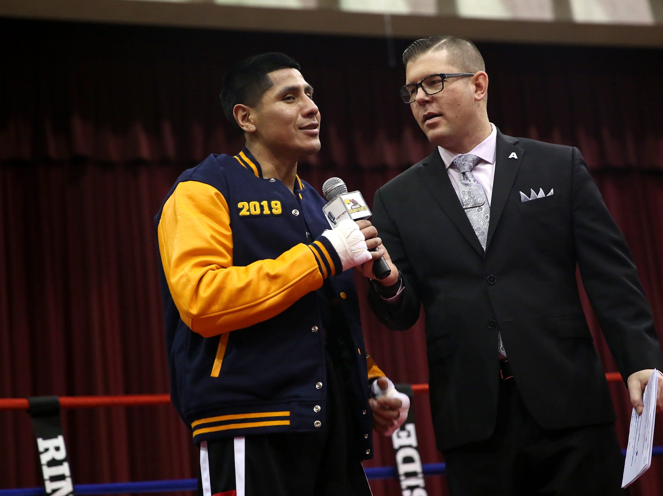 Poli Lopez of Keizer is pronounced the winner in his fight at the Oregon Golden Gloves championship matches at the Salem Armory on Saturday, Feb. 2, 2019.