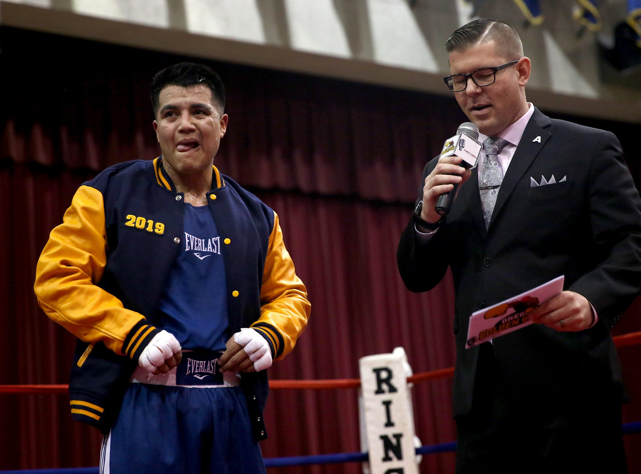 Omar Murillo is pronounced victorious against Eduard Yanez at the Oregon Golden Gloves championship matches at the Salem Armory on Saturday, Feb. 2, 2019.