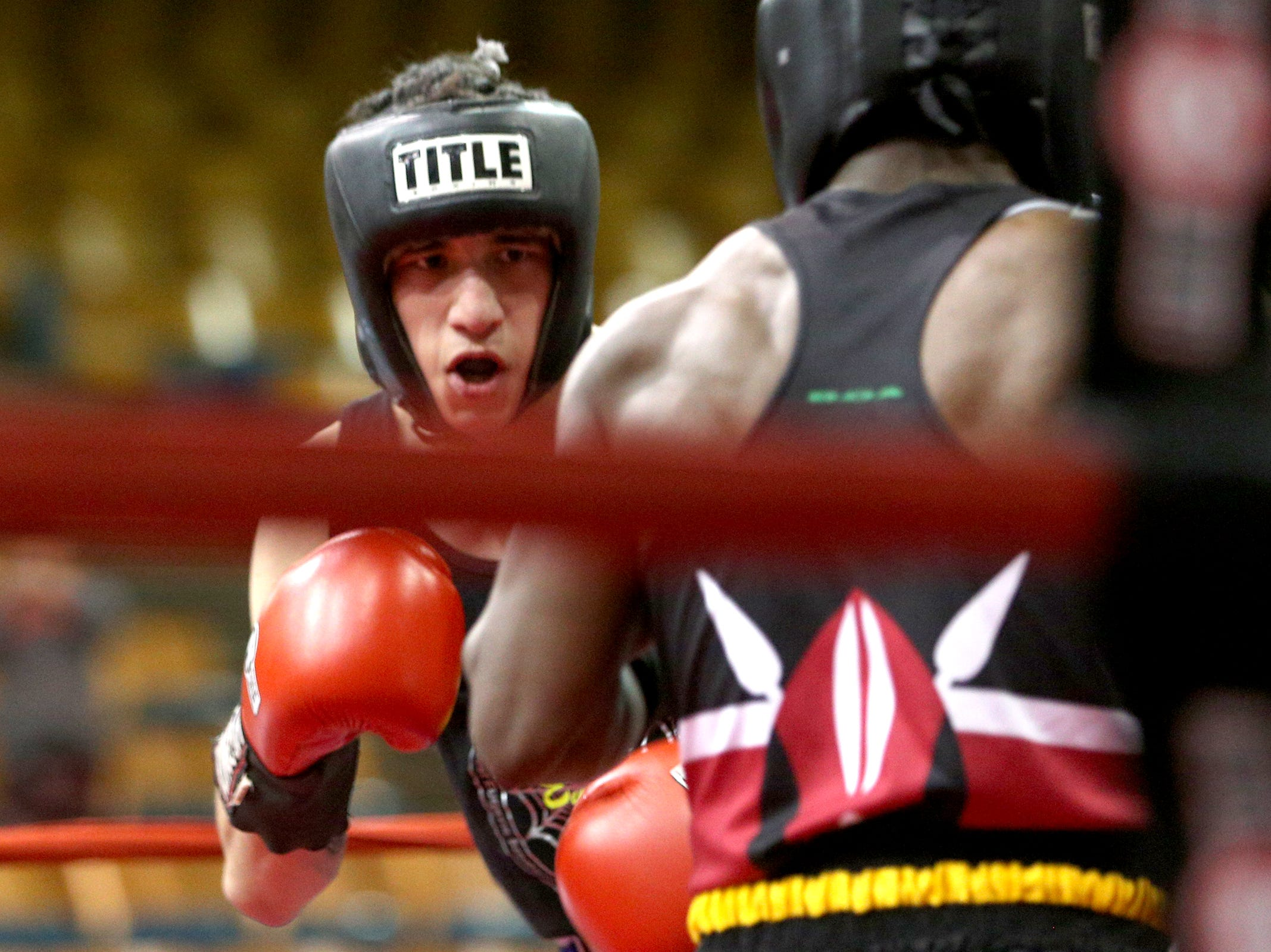Anthony Cruz of Eugene competes in the Oregon Golden Gloves championship matches at the Salem Armory on Saturday, Feb. 2, 2019.