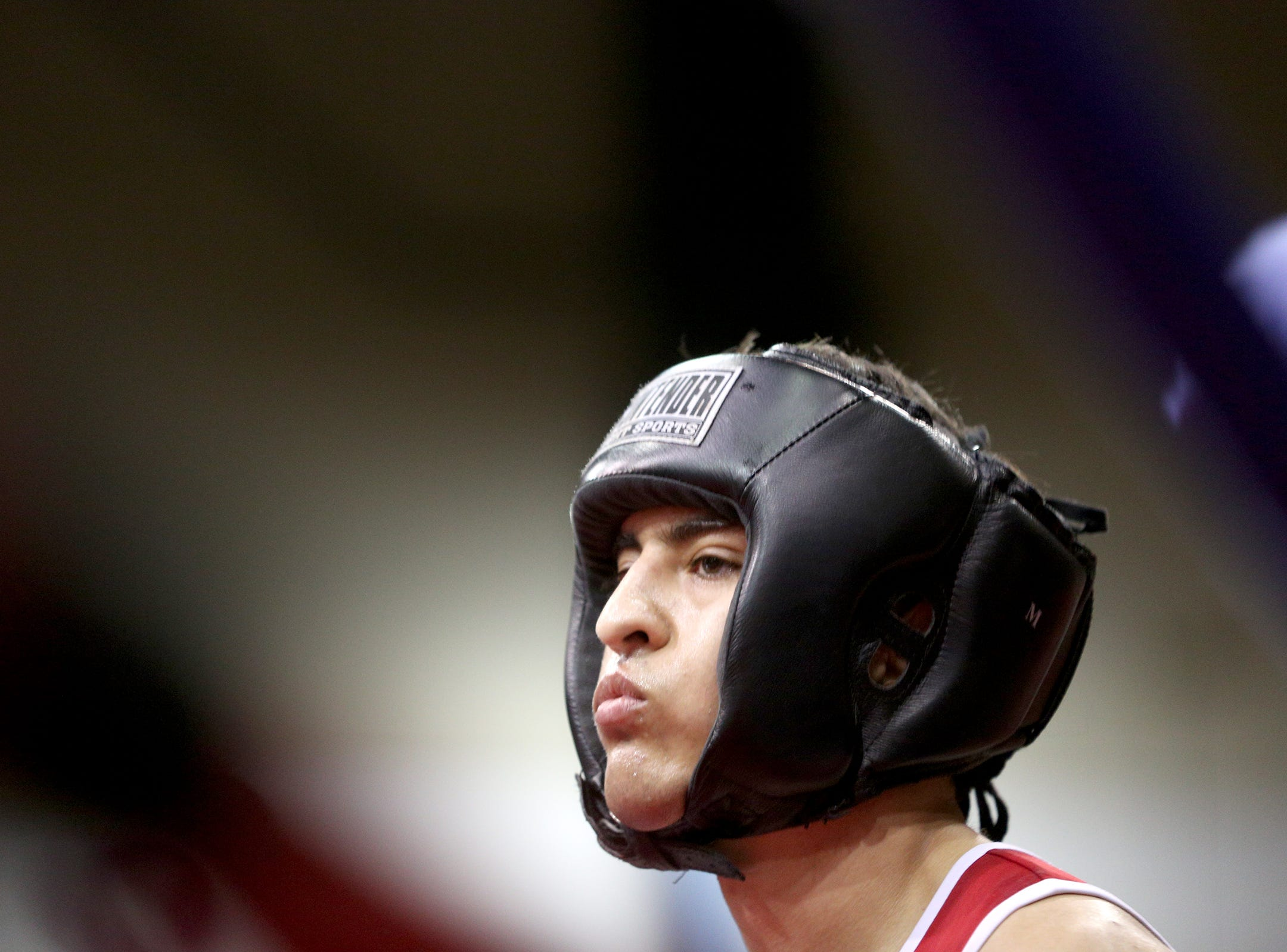 Boxer Jonathan Pena of Salem before his match at the Oregon Golden Gloves championship matches at the Salem Armory on Saturday, Feb. 2, 2019.