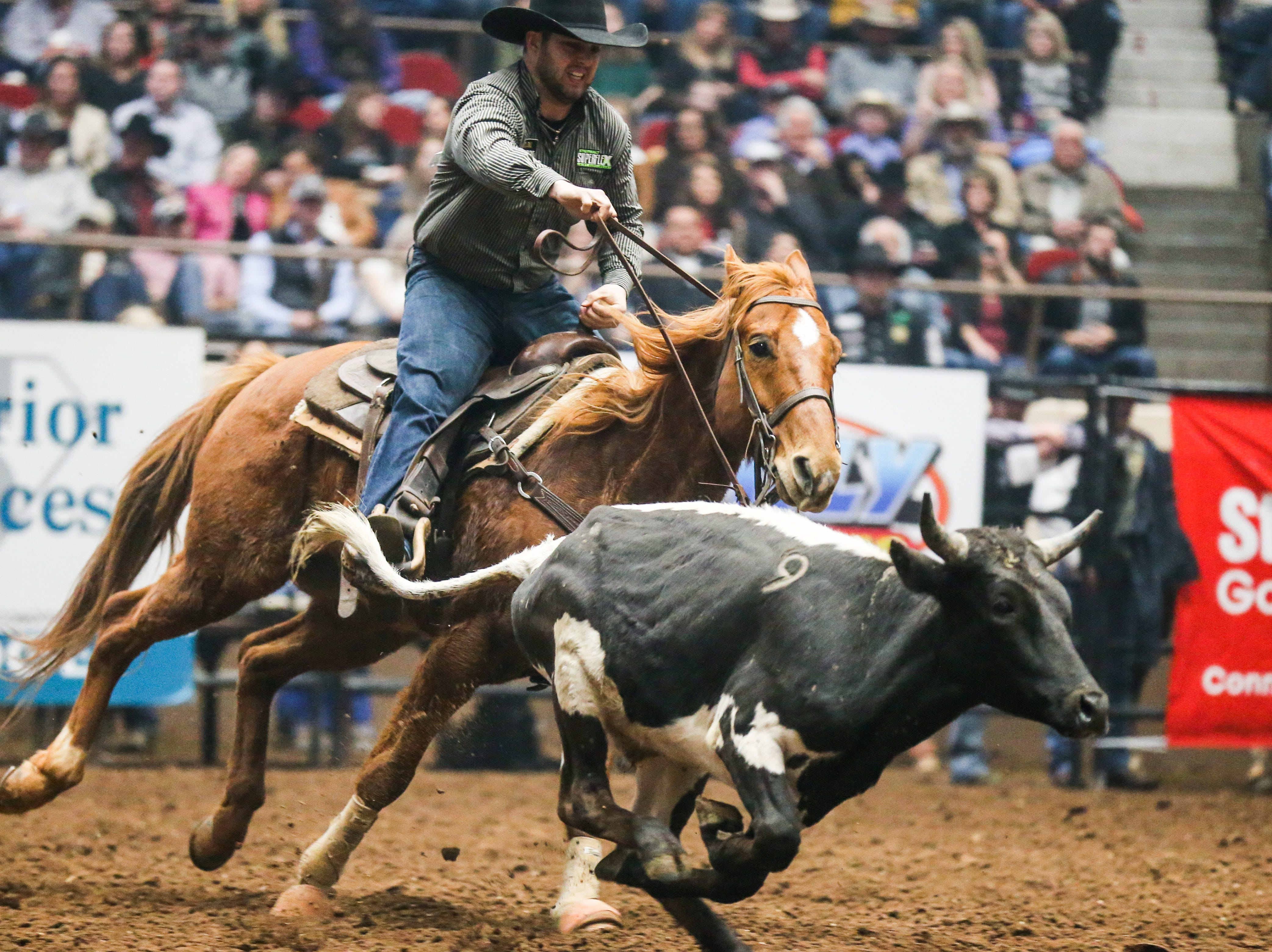 Denver Berry rides out to catch a steer to wrestle during the 3rd performance of the San Angelo Stock Show & Rodeo Saturday, Feb. 2, 2019, at Foster Communications Coliseum.
