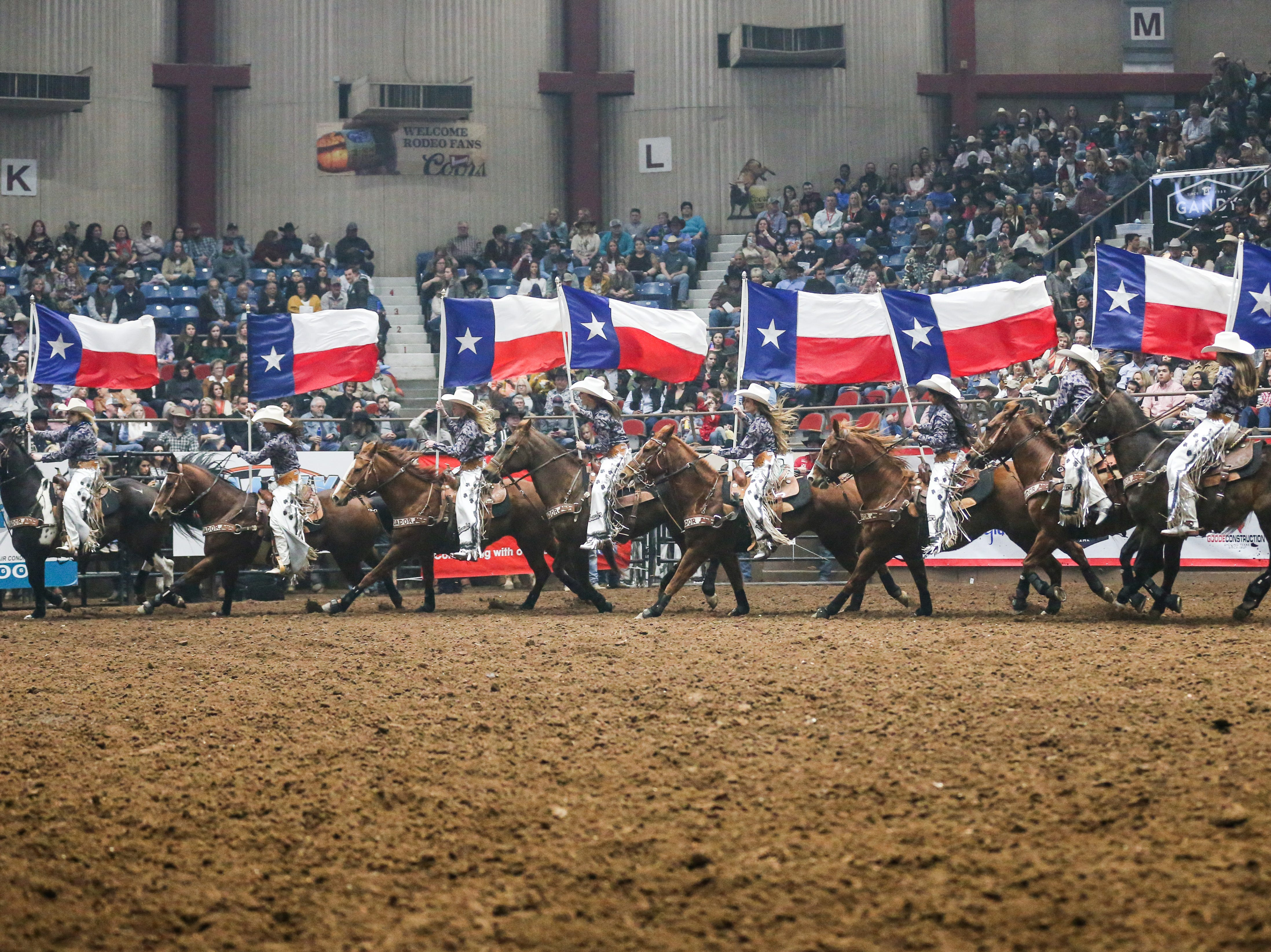 The San Angelo Ambassadors ride in the arena during the 3rd performance of the San Angelo Stock Show & Rodeo Saturday, Feb. 2, 2019, at Foster Communications Coliseum.