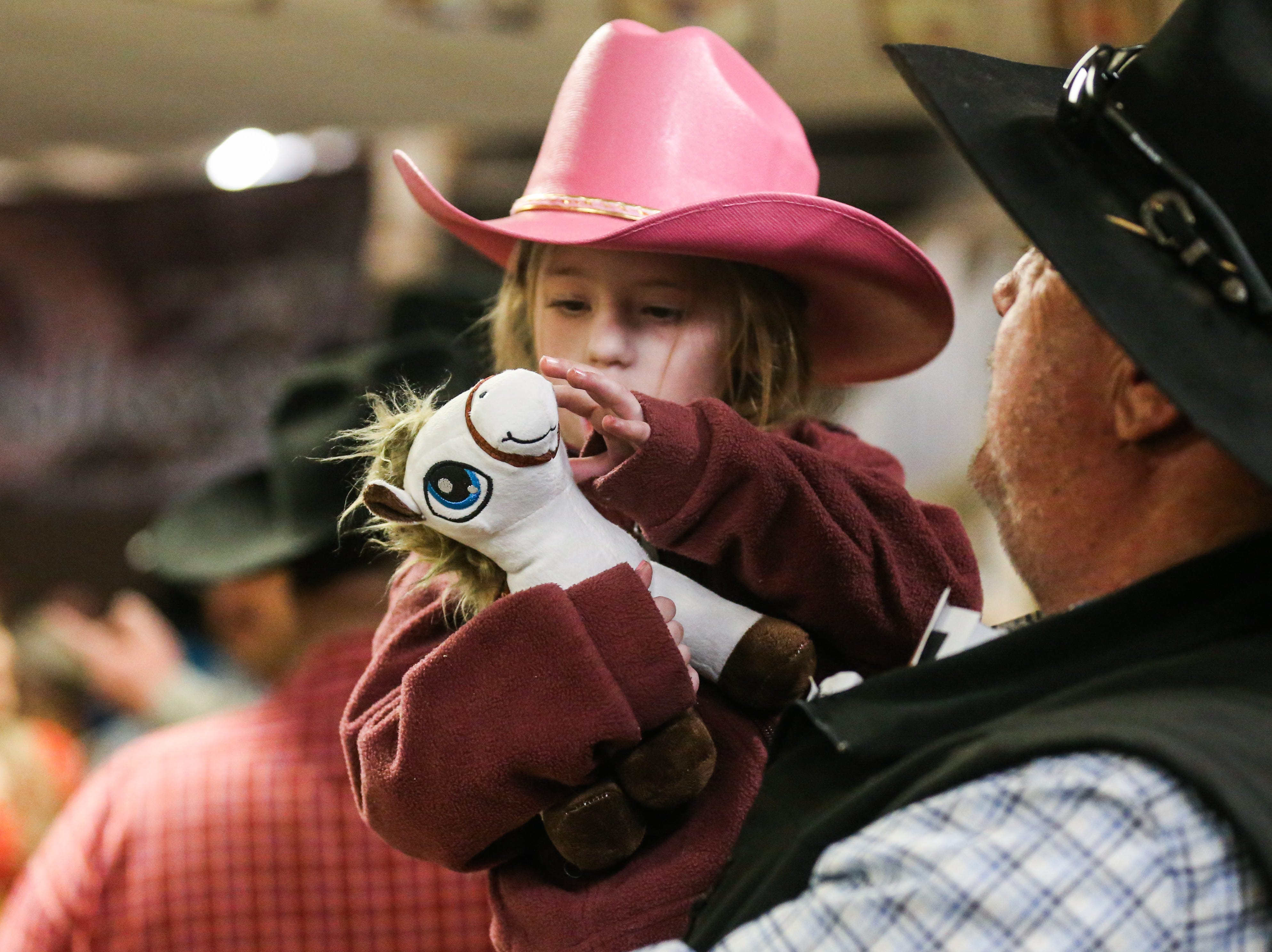Haley Williamson, 6, brought her own horse to the 3rd performance of the San Angelo Stock Show & Rodeo Saturday, Feb. 2, 2019, at Foster Communications Coliseum.