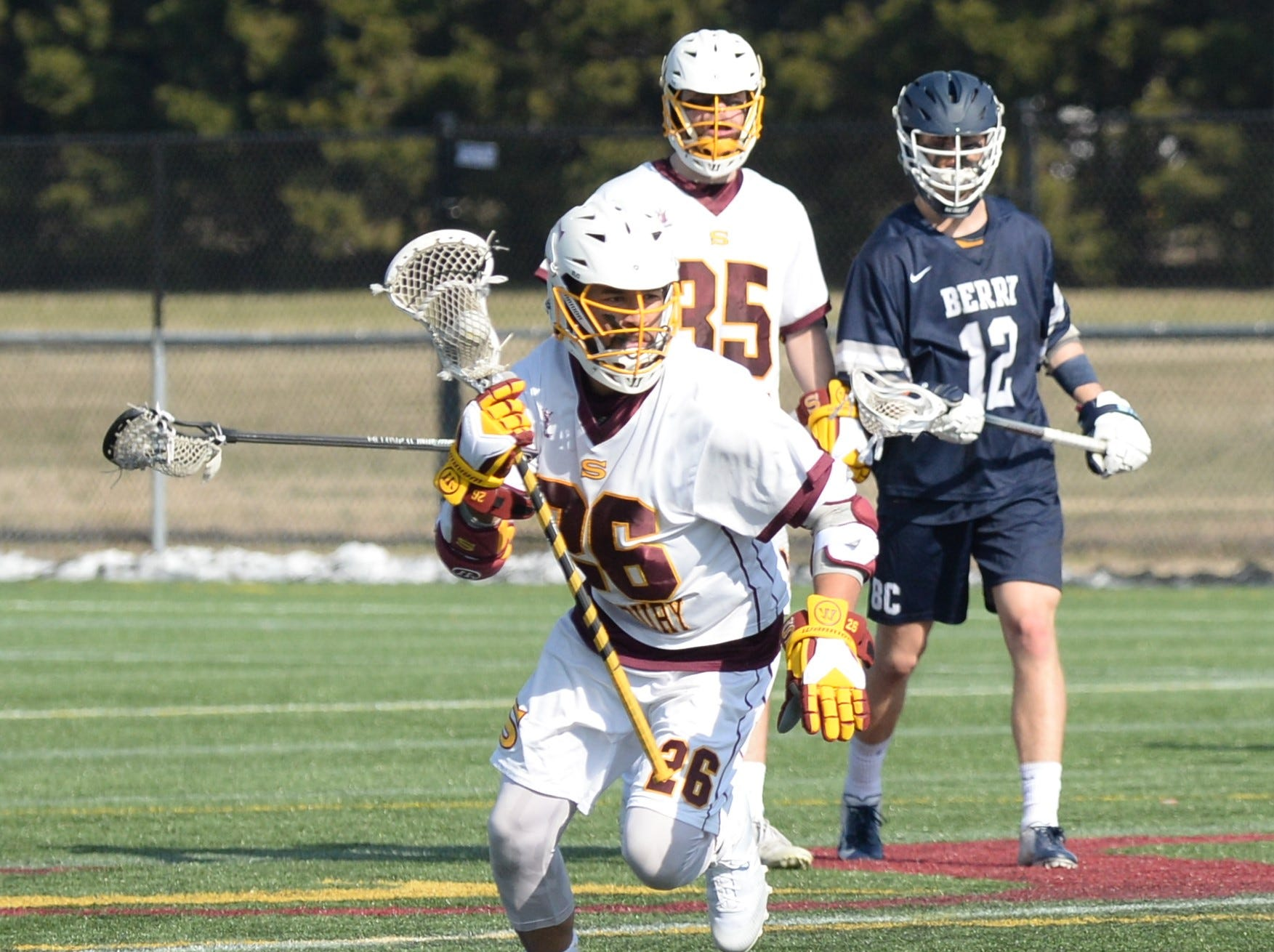 Salisbury University's Austin Short takes the ball up field against Berry College on Sunday, Feb. 3, 2019.