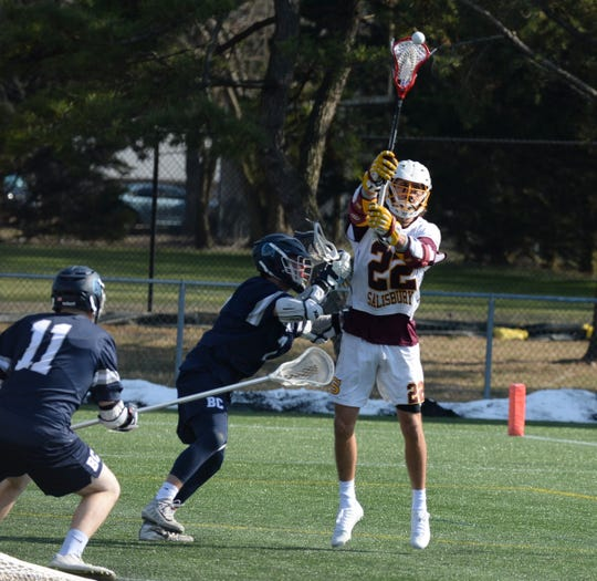 Salisbury University's Cross Ferrara passes the ball to a teammate against Berry College on Sunday, Feb. 3, 2019.
