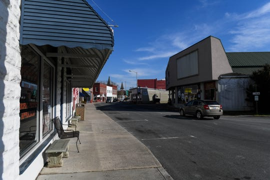 Downtown Onancock, Gov. Ralph Northam's hometown, sits quiet and empty on Sunday, Feb. 3, 2019.