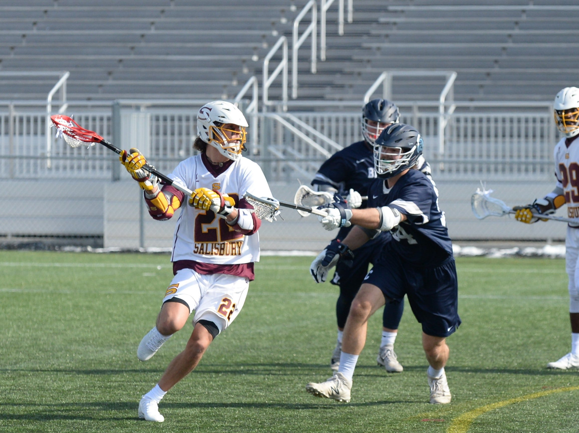 Salisbury University's Cross Ferrara looks for a shot against Berry College on Sunday, Feb. 3, 2019.
