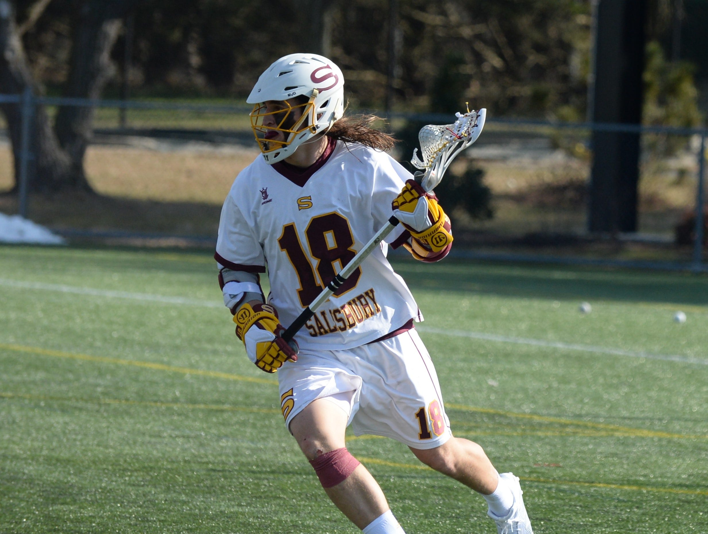 Salisbury University's Corey Gwin circles the goal against Berry College on Sunday, Feb. 3, 2019.