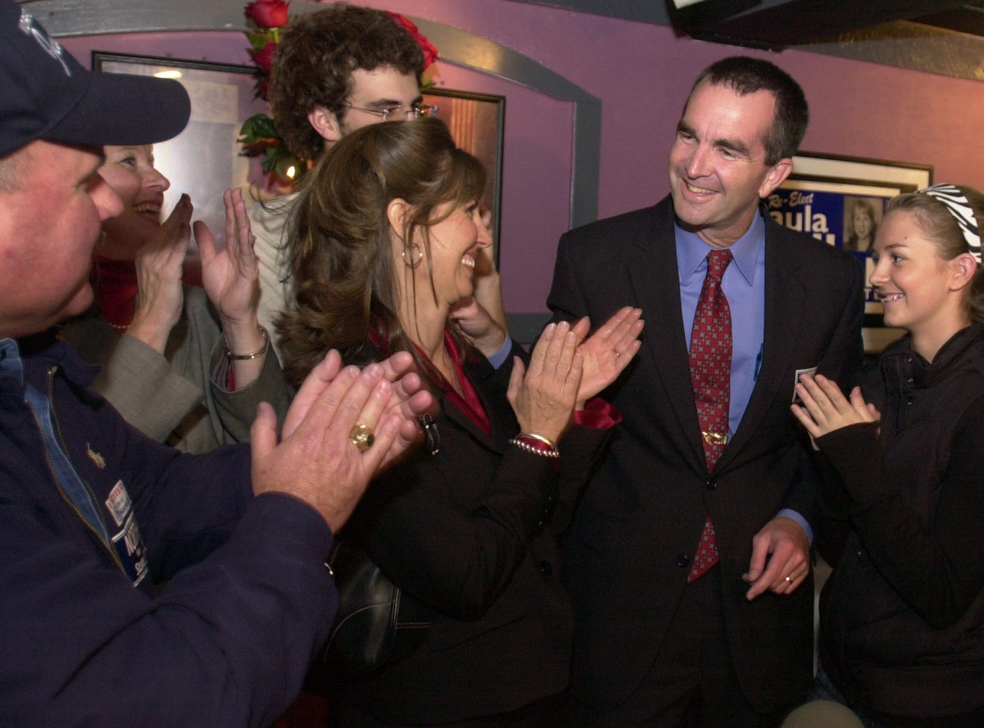 State Sen.-elect Ralph Northam is congratulated by supporters after winning the state's 6th District seat in the state Senate over incumbent Nick Rerras on Tuesday, Nov. 6, 2007, in Norfolk.