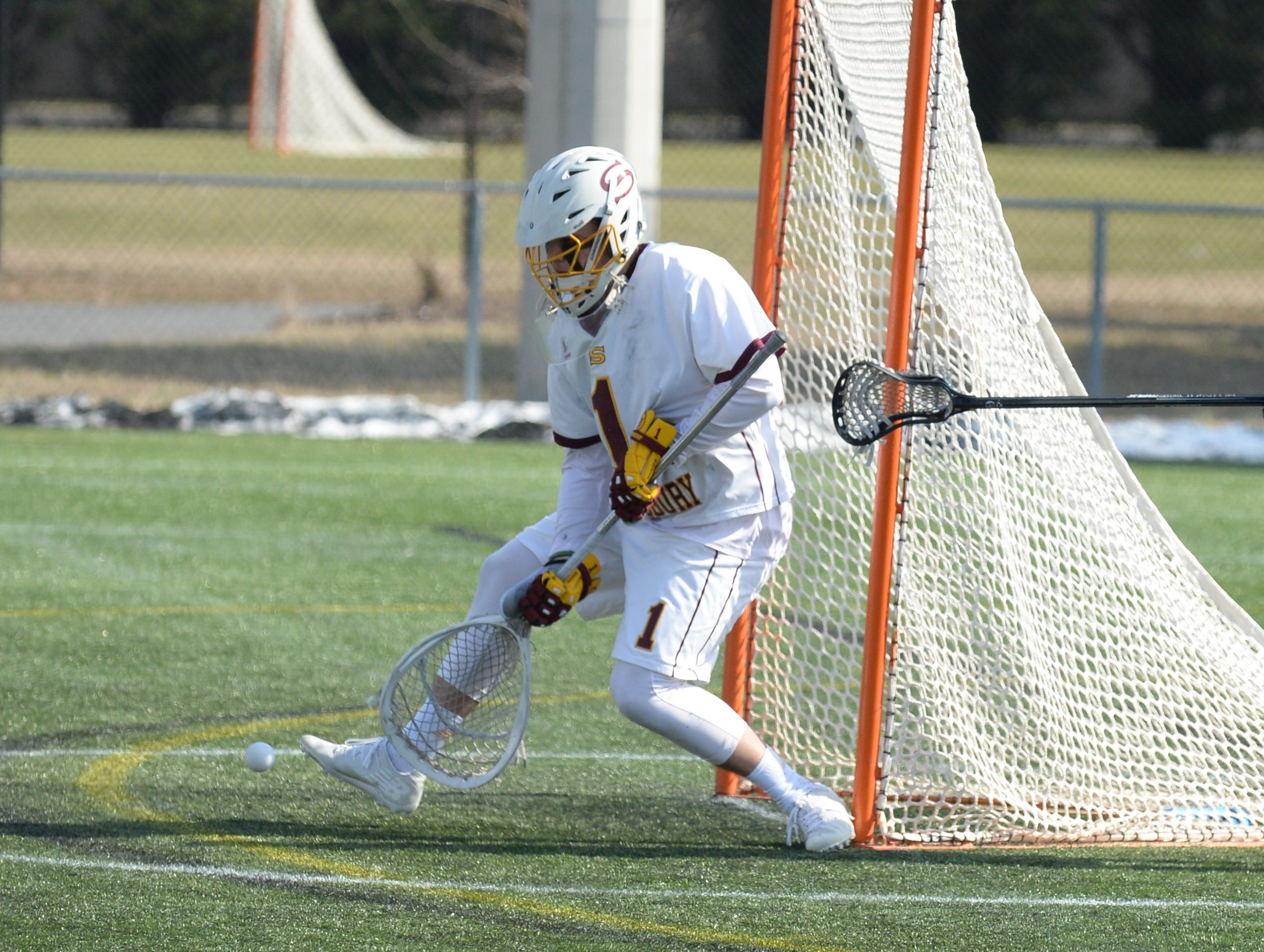 Salisbury University goalie Brandon Warren goes for a save against Berry College on Sunday, Feb. 3, 2019.