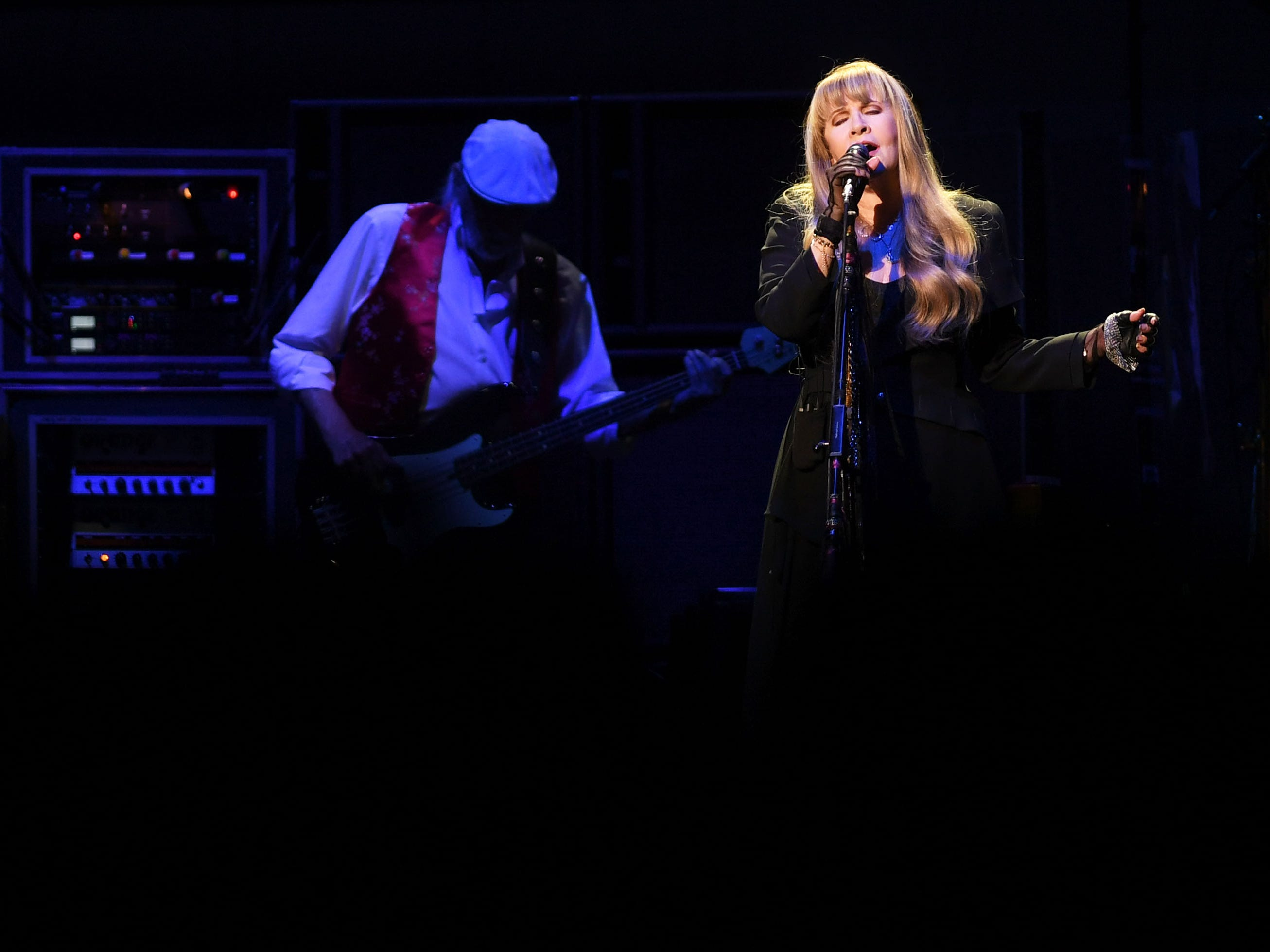 Fleetwood Mac's Stevie Nicks and John McVie perform at the Denny Sanford Premier Center Saturday, Feb. 2, in Sioux Falls. The new lineup included Mick Fleetwood, John McVie, Stevie Nicks, Christine McVie, Mike Campbell and Neil Finn.