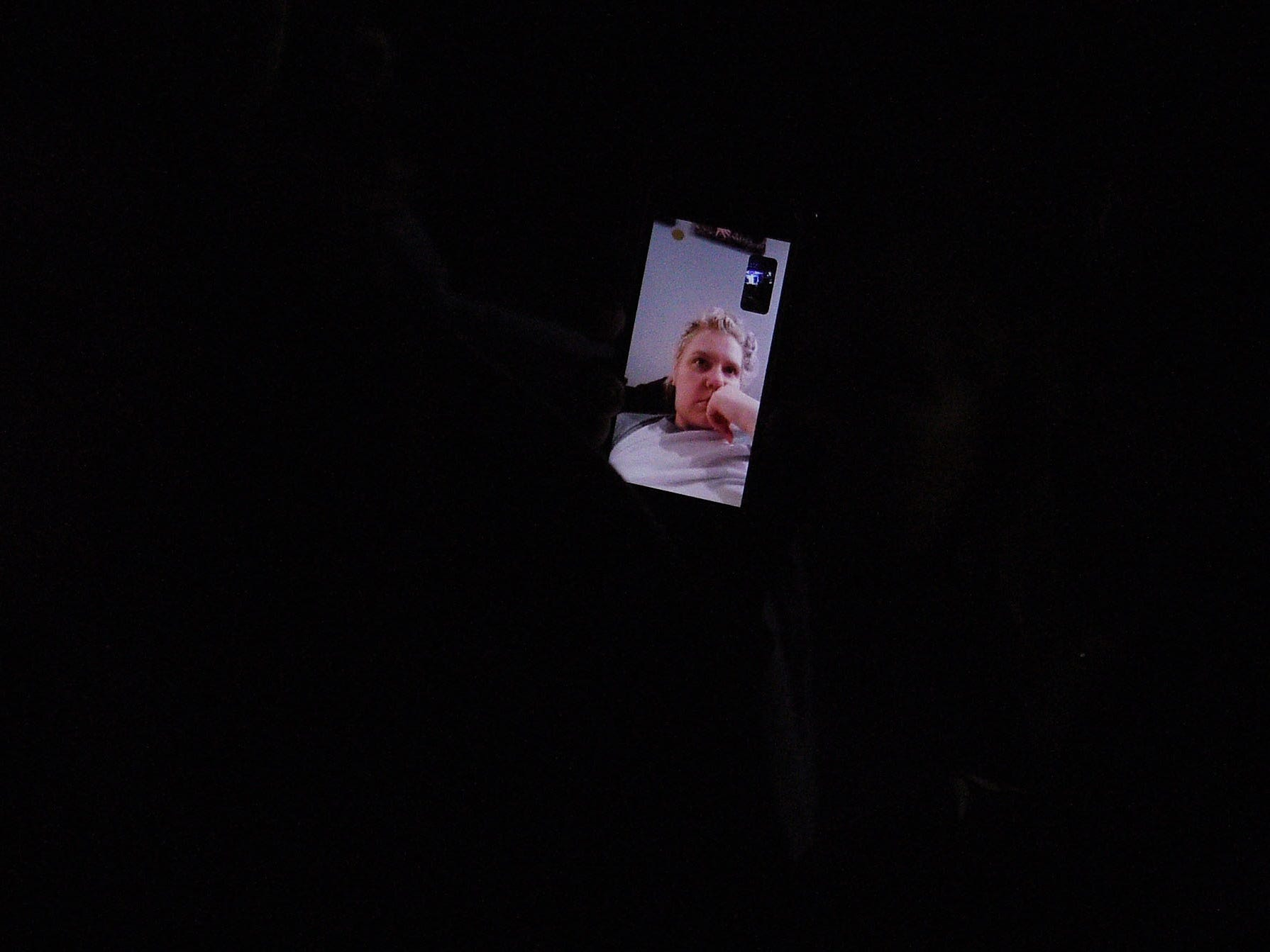 A Fleetwood Mac fan watches the concert via FaceTime during the show at the Denny Sanford Premier Center Saturday, Feb. 2, in Sioux Falls. The new lineup included Mick Fleetwood, John McVie, Stevie Nicks, Christine McVie, Mike Campbell and Neil Finn.