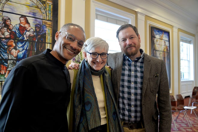 From left to right: Mark Gordon, Lee Switz and Chris Graham at St. Paul's Episcopal Church in Richmond after a service Sunday, Feb. 3, 2019.