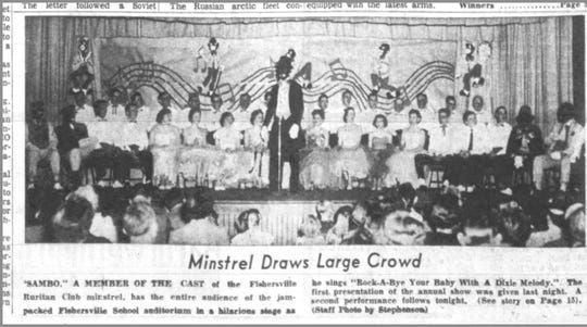 A 1957 front page of The Staunton News-Leader includes a scene from a Fishersville Ruritan Club minstrel show, including several characters in blackface.