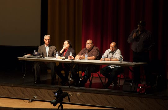 "Representatives from the Native American Guardians Association defend the use of the ""Redmen"" name at Cedar High School Saturday, Feb. 2, 2019."