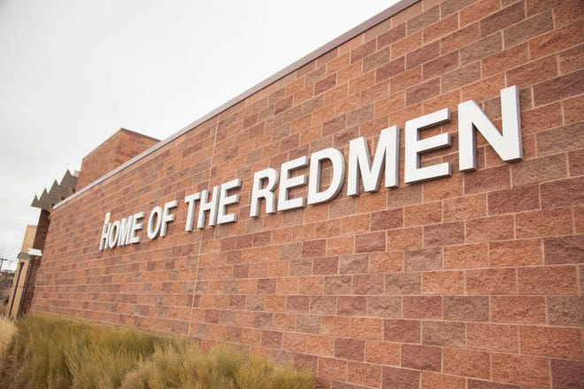 """Representatives from the Native American Guardians Association defend the use of the """"Redmen"""" name at Cedar High School Saturday, Feb. 2, 2019."""