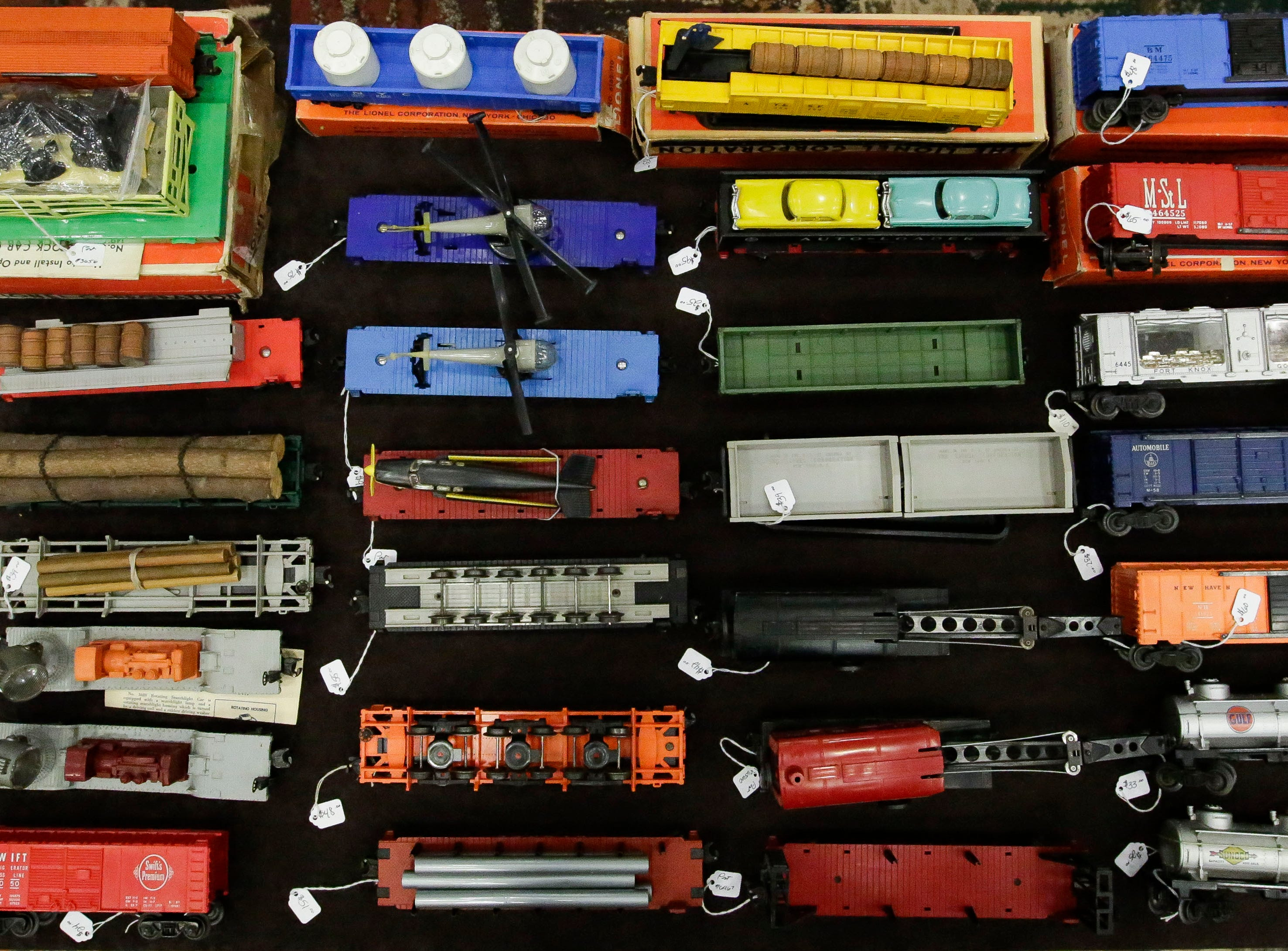 Model train cars are displayed at a sales booth on Sunday, February 3, 2019, during the Arctic Run Model Railroad Show at the Holiday Inn Convention Center in Stevens Point, Wis.Tork Mason/USA TODAY NETWORK-Wisconsin