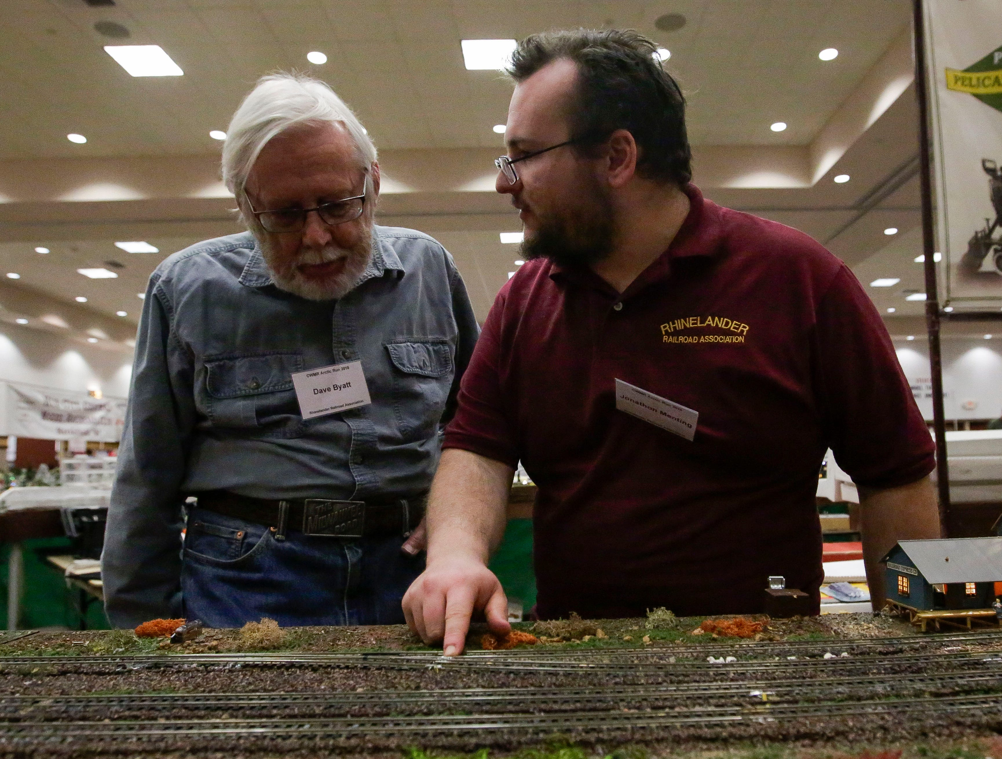 Dave Byatt and Jonathon Menting of the Rhinelander Railroad Association tend to their model train display on Sunday, February 3, 2019, during the Arctic Run Model Railroad Show at the Holiday Inn Convention Center in Stevens Point, Wis.Tork Mason/USA TODAY NETWORK-Wisconsin