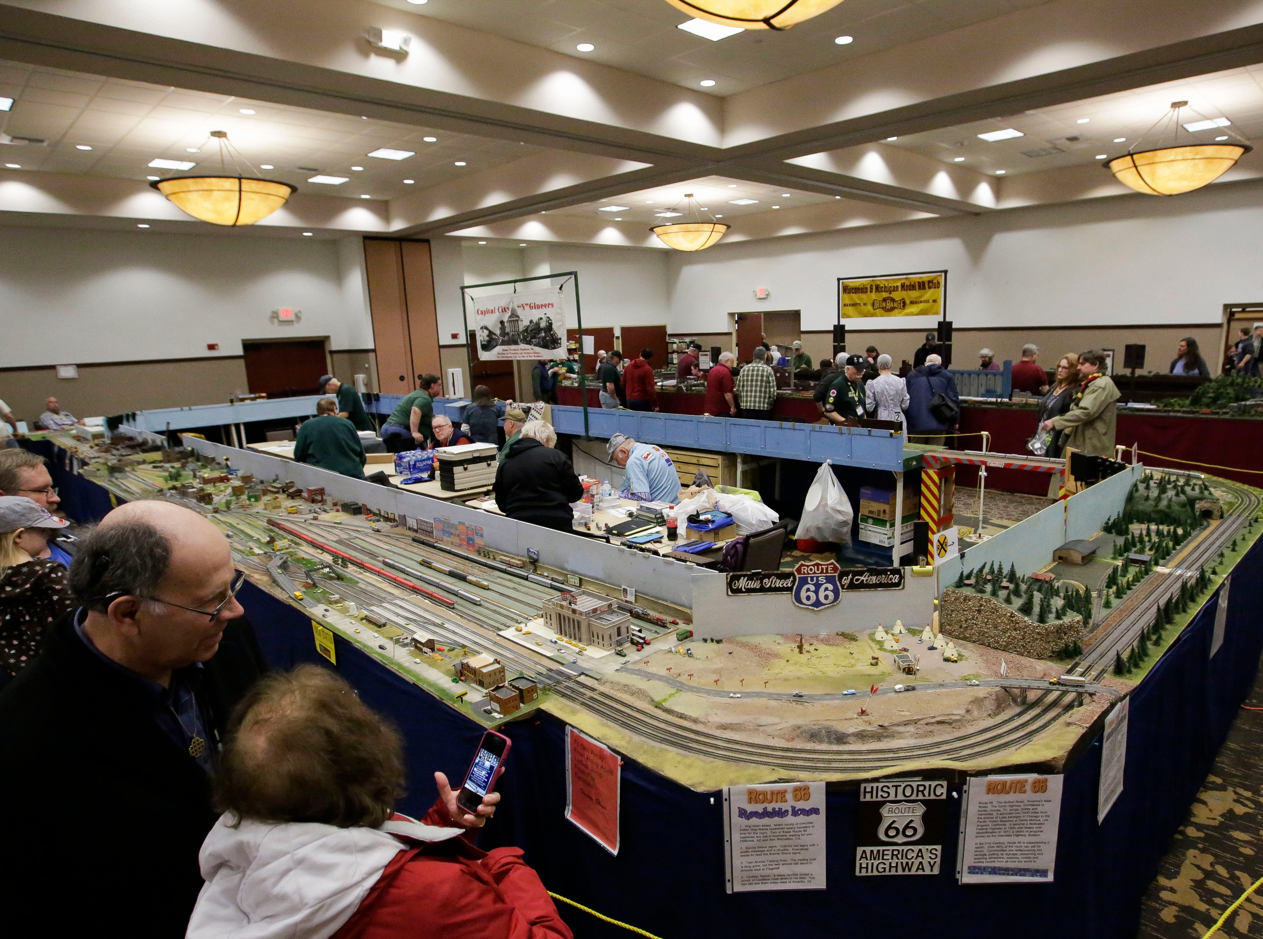 Spectators mill around various model train displays on Sunday, February 3, 2019, during the Arctic Run Model Railroad Show at the Holiday Inn Convention Center in Stevens Point, Wis.Tork Mason/USA TODAY NETWORK-Wisconsin