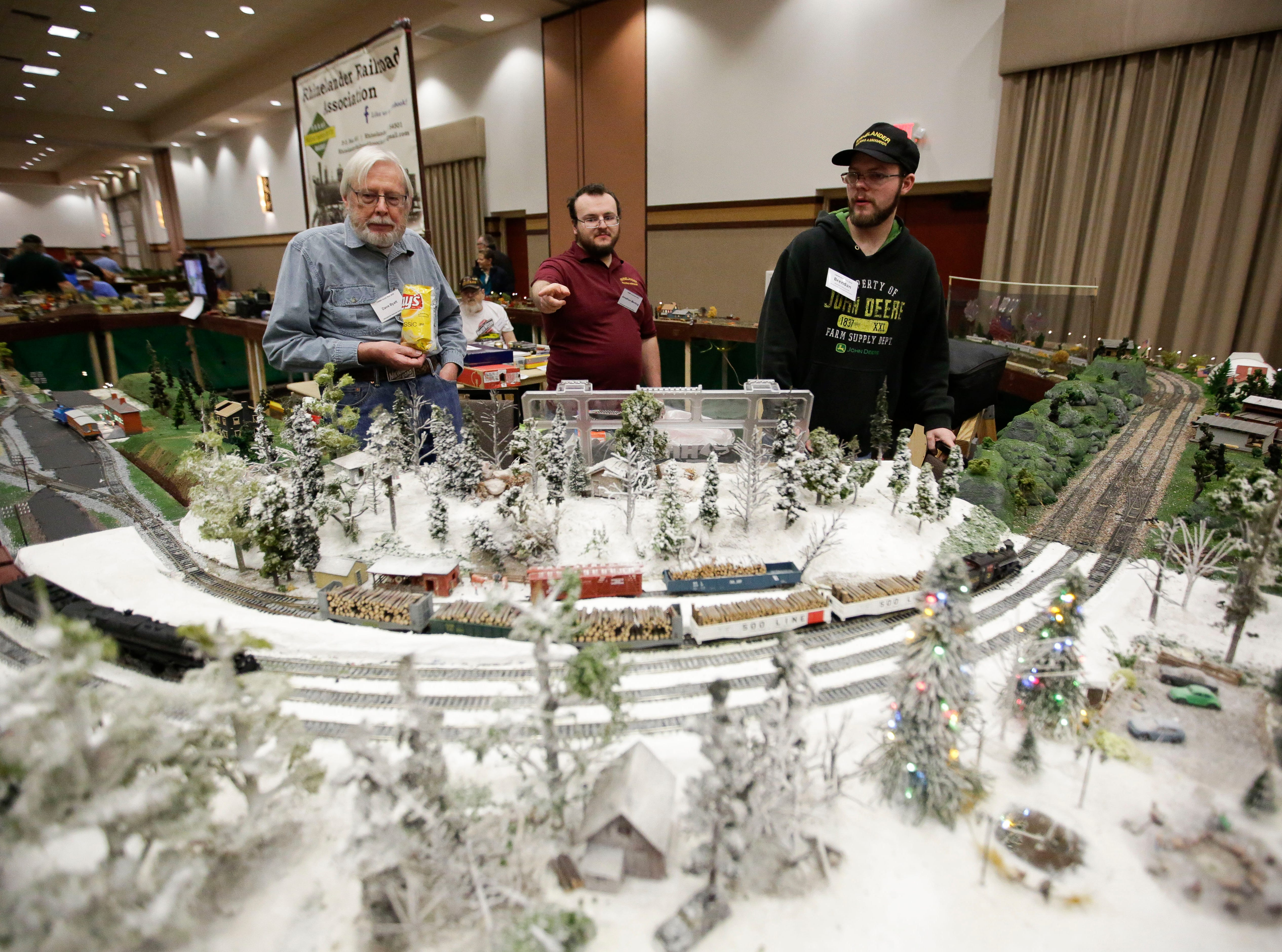 Dave Byatt, Jonathon Menting and Brendan Marquardt of the Rhinelander Railroad Association tend to their model train display on Sunday, February 3, 2019, during the Arctic Run Model Railroad Show at the Holiday Inn Convention Center in Stevens Point, Wis.Tork Mason/USA TODAY NETWORK-Wisconsin