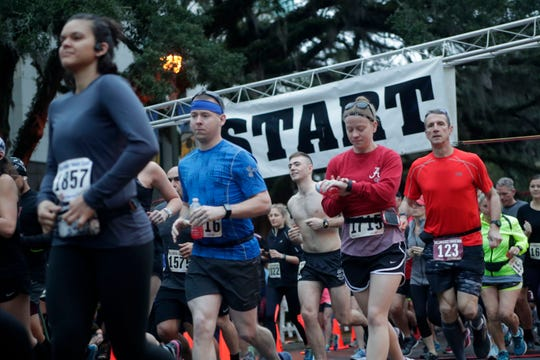 Runners cross the start line of the Tallahassee Marathon in 2019. This year's marathon will be Sunday, Feb. 2.