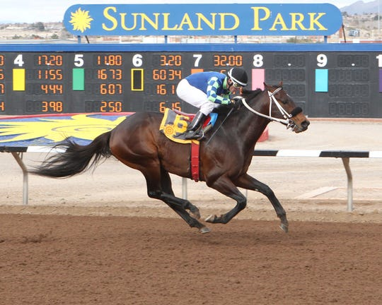 Runaway Ghost won the Fort Bliss Stakes on Saturday at Sunland Park Racetrack & Casino in his return to the track after winning the Sunland Derby last March.