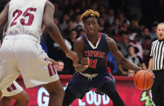 Stepinac's Adrian Griffin Jr. in action during a game against Iona Prep at Iona College in New Rochelle Feb. 2, 2019.