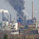 Flames and smoke rising from Delaware City Refinery