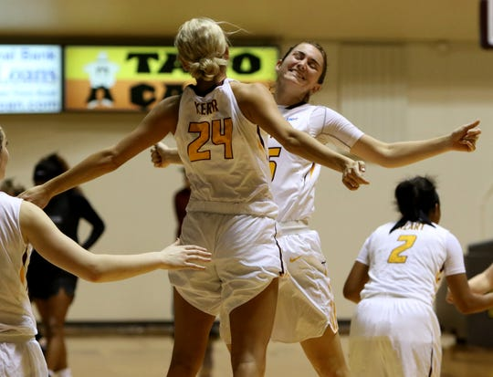 Midwestern State's Anni Scholl and Countney Kerr (24) celebrate a win last month over Eastern New Mexico. Scholl has set multiple career highs this season.