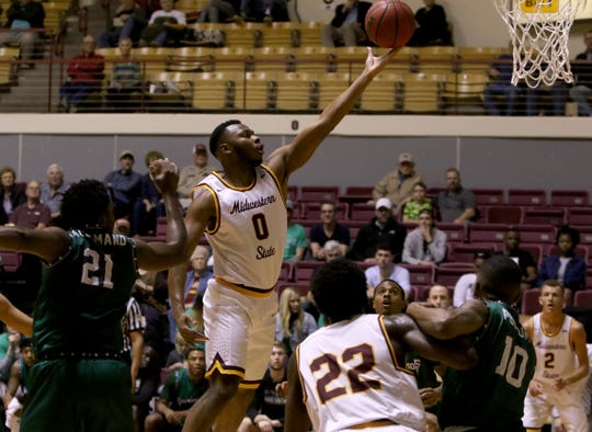 Midwestern State's JaJuan Starks puts in a layup against Eastern New Mexico Saturday, Feb. 2, 2019, in D.L. Ligon Coliseum at MSUTexas.