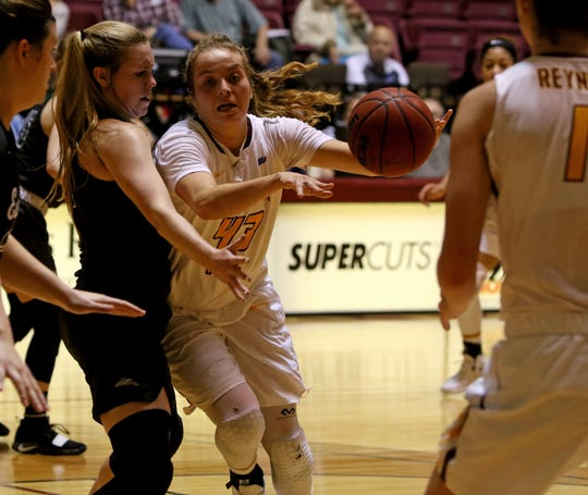 Midwestern State's Liz Cathcart passes in the game against Eastern New Mexico Saturday, Feb. 2, 2019, in D.L. Ligon Coliseum at MSUTexas.