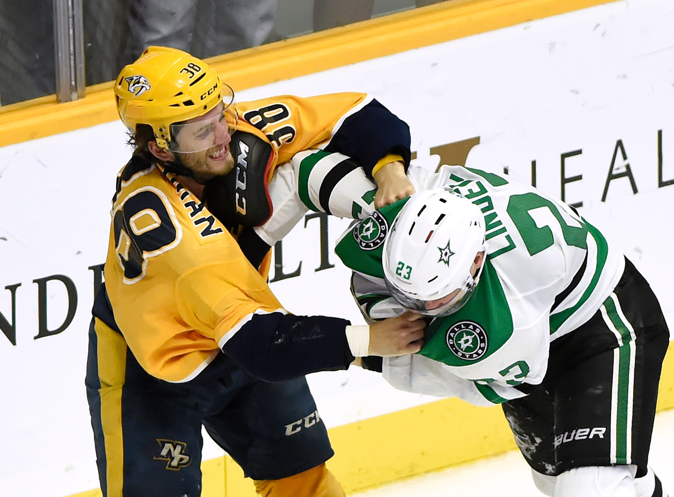Feb. 2: Nashville Predators' Ryan Hartman vs. Dallas Stars' Esa Lindell.
