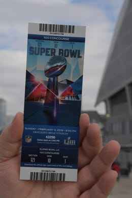 General view of a ticket to Super Bowl LIII at Mercedes-Benz Stadium.