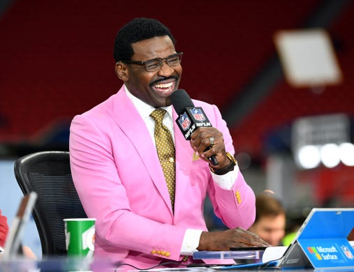 Former player and NFL Network analyst Michael Irvin has a laugh before Super Bowl LIII between the New England Patriots and the Los Angeles Rams.